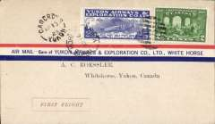 (Canada) Yukon Airways and Exploration Co Ltd, F/F Carcross to Whitehorse, bs 16/4, souvenir airmail cover franked 2c and CL42.