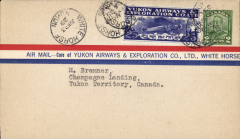 (Canada) Yukon Airways and Exploration Co Ltd, F/F Whitehorse to Champagne, bs 23/6, souvenir airmail cover franked 2c and CL42.