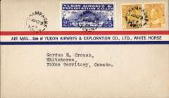 (Canada) Yukon Airways and Exploration Co Ltd, F/F Champagne to Whitehorse, bs 23/6, souvenir airmail cover franked 2c and CL42.