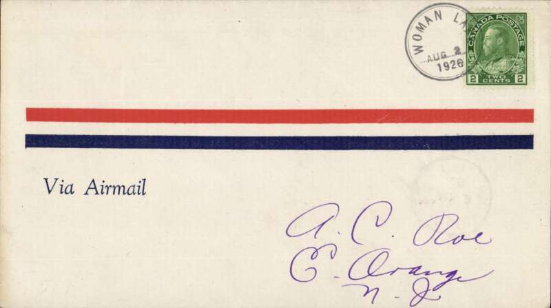 (Canada) Patricia Airways and Exploration Ltd, F/F Woman's Lake to Sioux Lookout, bs 2/8, airmail cover franked  2c, and CL18 verso tied by Sioux Lookout  arrival cds and blue Sioux Lookout/ Woman's Lake cachet.
