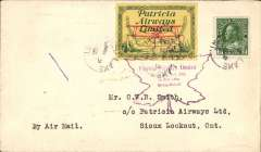 (Canada) Patricia Airways and Exploration Ltd, F/F Red Lake Lake to Sioux Lookout, bs 9/3, airmail cover franked  2c, and CL43 tied by purple Sioux Lookout-Red Lake flight cachet. 81 flown.
