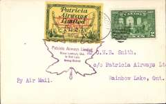 (Canada) Patricia Airways and Exploration Ltd, F/F Sioux Lookout to Rainbow Lake, plain cover franked  2c, and CL43 tied by Sioux Lookout cds and purple Sioux Lookout-Red Lake Mining District flight cachet. No PO at Rainbow Lake so name of town handwritten on the back. Only 25 flown.