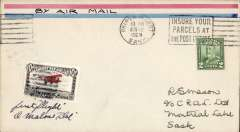 (Canada) Cherry Red Airline Ltd, F/F Prince Albert to Montreal Lake, b/s 3/8, cover franked 2c, also black/red/white CL46 tied by dumb cancel, Signed by the pilot A.Malone.