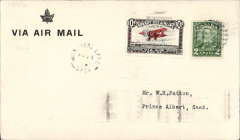 (Canada) Cherry Red Airline Ltd, F/F Montreal Lake to Prince Albert to Montreal Lake, b/s 15/8, cover franked 2c, also black/red/white CL46 tied by dumb cancel.