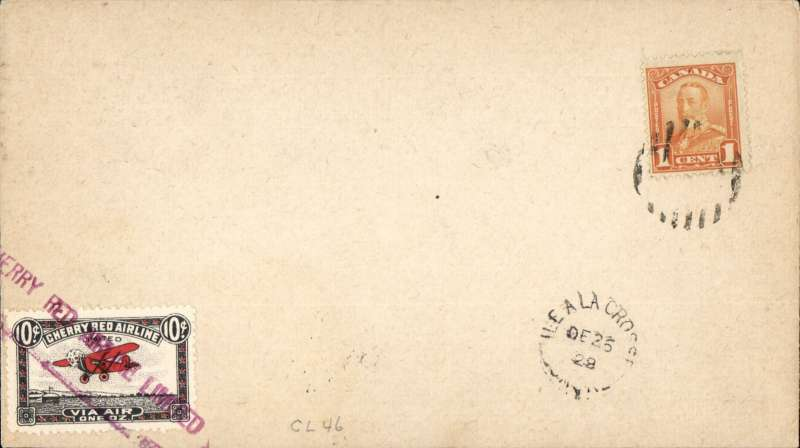 (Canada) Cherry Red Airline Ltd, F/F Ile a La Crosse to Lac La Longe, bs 26/12, plain cover franked 1c, also black/red/white CL46 tied by red 'Cherry Red Airline Limited' hs,