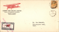 (Canada) Cherry Red Airline Ltd, F/FLa la Longe to Christopher Lake, bs 12/3, company cover with red plane in top lh corner franked 1c, also black/red/white CL46 tied by red 'Cherry Red Airline Limited' hs,