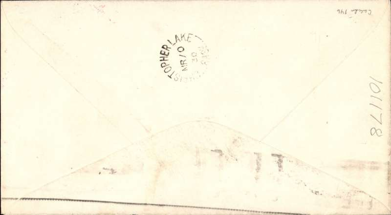(Canada) Cherry Red Airline Ltd, F/F Prince Albert to Christopher Lake, bs 10/3 company cover with red plane in top lh corner franked 1c, also black/red/white CL46 tied by red 'Cherry Red Airline Limited' hs,