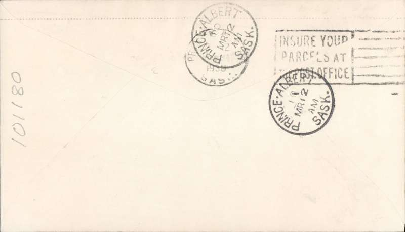 (Canada) F/F Christopher Lake to Prince Albert, b/s, franked 2c, also red/white semi official company stamp CL46 .