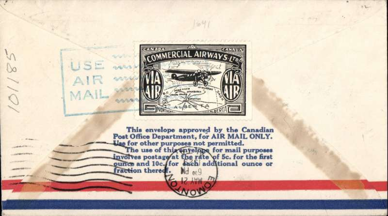 (Canada) F/F Grand Prairie to Edmonton, airmail cover, cachet, b/s, company black/white CL47 semi official stamp verso, Commercial Airways Ltd.