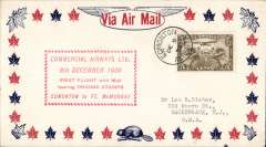 (Canada) F/F using orange CL49 semi official stamp. Edmonton to Fort  McMurray, attractive airmail cover, red cachet, b/s, Commercial Airways Ltd.