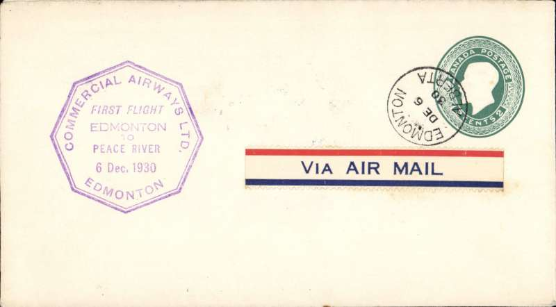 (Canada) F/F Edmonton to Peace River, octagonal cachet, b/s, 2c green PSE, company black/white CL48 semi official stamp verso, Commercial Airways Ltd.