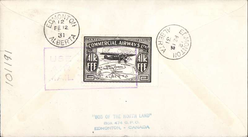 (Canada) F/F Peace River to Edmonton, green diamond cachet on airmail cover, bs,  company black/white CL48 semi official stamp verso, Commercial Airways Ltd.