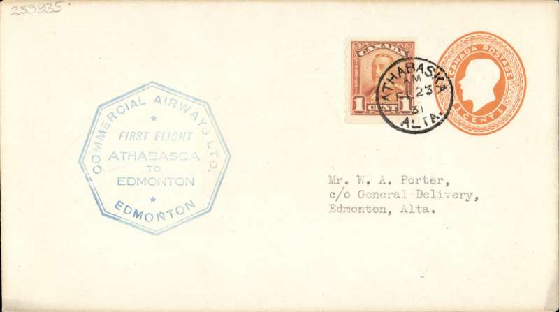 (Canada) F/F Athabaska to Edmonton, blue octagonal cachet on 1c orange PSC, b/s, company black/white CL48 semi official stamp verso, Commercial Airways Ltd.