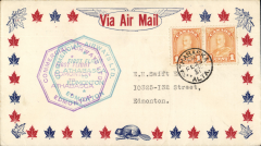 (Canada) F/F Athabaska to Edmonton, double cachet, b/s, company orange/white CL50 semi official stamp verso, Commercial Airways Ltd.