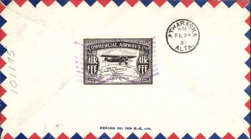 (Canada) F/F Edmonton to Athabaska, violet octagonal cachet on airmail cover, b/s, company black/white CL48 semi official stamp verso, Commercial Airways Ltd.