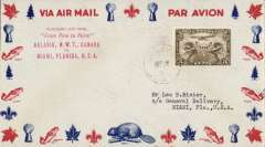 (Canada) F/F Aklavik to Miami, red five line flight cachet on airmail cover, bs tying official Commercial Airways C48 stamp.
