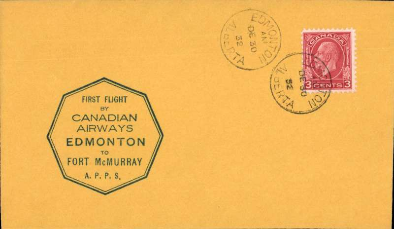 (Canada) F/F Edmonton to Fort McMurray, bs, black octagonal flight cachet on plain cover, black/yellow grey company stamp CL51 verso, Canadian Airways Ltd.