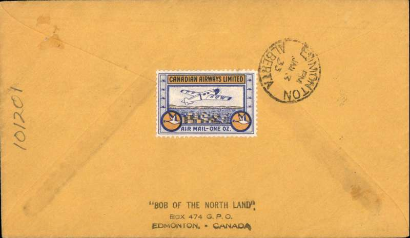 (Canada) F/F Fort McMurray to Edmonton, bs, black diamond flight cachet on plain cover, black/yellow grey company stamp CL51 verso, CANADIAN AIRWAYS LTD.