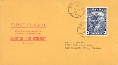 (Canada) F/F Edmonton to Fort McMurray, bs, printed souvenir cover, black/yellow grey company stamp CL52 verso, Canadian Airways Ltd