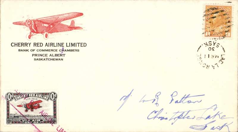 """(Canada) F/F Lac La longe to Christopher Lake, b/s, red/white semi official company stamp CL46 cancelled with straight line magenta """"Cherry Red Airline Ltd"""" cachet, printed company cover with red plane corner logo."""