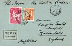 "(Bulgaria) Bulgaria to England, Sofia to Huddersfield 16/8, plain cover franked 16, canc 'Aerienne Sofia/14 VIII 37' cds, ms ""Par Avion Via Berlin-London'."