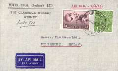 (Australia) Sydney to London, no arrival ds, airmail etiquette cover franked 1/6d and 1d to include LATE FEE, canc 'Air Mail/Sydney cds, ms 'Late Fee', typed 'Air Mail 2/4/35.