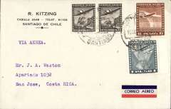 (Chile) Santiago to San Jose, Costa Rica, bs 19/10, commercial corner cover franked 7P 60c, red.white/blue airmail etiquette.