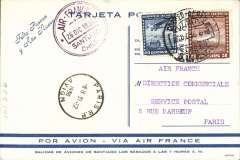 (Chile) Compagnie Generale Aeropostale, a rare blue/dark blue CGA New Year Greetings card N23A, Santiago to Paris , 31/12 arrival cds on front, correctly rated 3P 20c