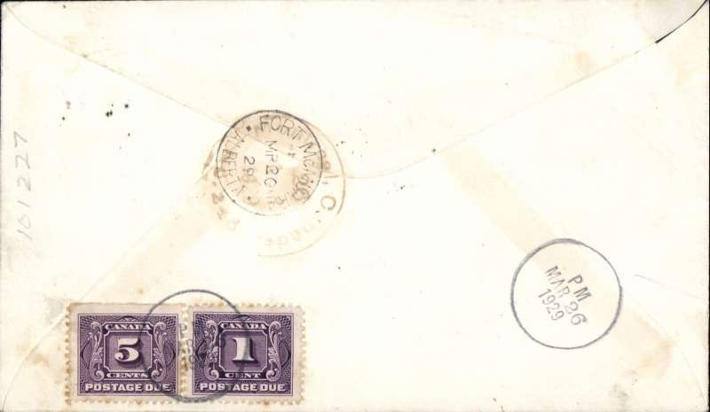 (Canada) Fort Mc Murray-Fort Good Hope, special flight authorised by the Post Office Department, Resolution to Fort Mc Murray, bs 20/3, underpaid imprint 'via airmail' corner cover, franked 2c, canc Resolution cds, verso Canada 1c and 5c Postage Dues canc  'PM/Mar 26/1926' in circle hs. Signed by the pilot C.H. (Punch) Dickens. Some mild toning, see scan.
