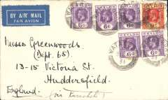(Ceylon) Early airmail, Ceylon to London,  franked 39c canc Watuga cds, ms 'via Karachi'.
