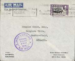(Ceylon) Special Christmas flight, Colombo to Madras and on to London, bs Huddersfield 2 Jan 1937, special flight cachet, imprint etiquette corner cover printed ' FIrst Direct Air Mail/From Ceylon/24th Dec 1936'.