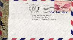 (Canal Zone) Censored airmail cover, Cristobal to Plymouth, Mass, franked 30c, sealed US 'Examined By' censor 7417 (New York).