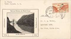 (Canal Zone) Pedro Migueb, CZ, to San Jose, CR, bs 16/2, 20th Anniversary opening of Panama Canal, souvenir cover with B&W picture of Canal, franked 10c, typed 'Air Mail'. Uncomon origin and cover.
