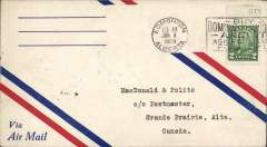 (Canada) Edmonton to Grand Prairie, b/s, company black/white CL47 semi official stamp verso, Commercial Airways Ltd. Not a F/F.