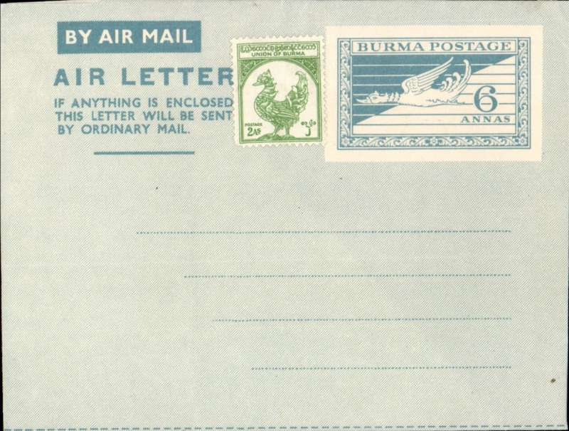 (Burma) Blue on Grey blue 6 annas Air Letter sheet, Flying Hintha design, with additional 2 annas adhesive, unused.