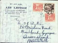 (Burma) Blue/dark blue air letter to Australia, franked 6 annas, canc Rangoon cds.