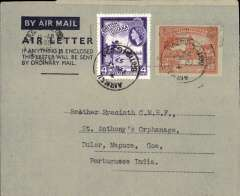 (British Guiana) British Guiana to Portuguese India, bs Mapuca, Goa 26/9, dark blue/grey air letter franked 16c, verso photo view of Kaieteur Fall. Uncommon origin-destination combination.       British Guiana to Australia, dark blue/grey air letter franked 21c, verso photo view of Kaieteur Fall.