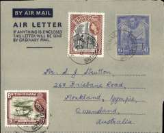 (British Guiana) British Guiana to Australia, dark blue/grey KGVI 6c air letter franked with additional 3c and 12c stamps, verso photo view of Kaieteur Fall.