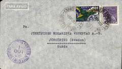 (Airship) South Atlantic Airmail Service, Brazil to Sweden, bs Malmo 5/10, pale grey airmail cover franked 4200R, canc Rio de Janeiro cds, carried by DLH Graf Zeppelin, flight G562, which dropped mail for Frankfurt at Las Palmas on 4/10. See Graue and Duggan p 202.