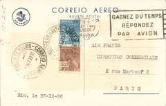 "(Brazil) Rare Air France PC commemorating 100th Atlantic crossing, variety #21A ""Brasil-Europa Em 2 Dias"", rated rare, see Ligne Amerique du Sud-France, 1928-1939, pub Cercle Aerophilatelique Francais."