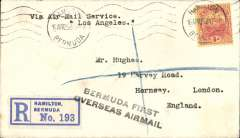 "(Bermuda) Airship 'Los Angeles', F/F Hamilton to New York, bs 24/4, registered (label) cover franked 4d canc Hamilton/Bermuda cds, black two line ""Bermuda First/Overseas Airmail"" and typed 'Via Air Mail Service/Los Angeles. cat 250 USD, Clark WJ, 1990."