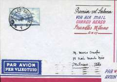 (Belgium) Sabena, F/F Brussels to Milan,bs 13/6, airmail cover franked 6F.