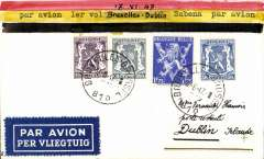 (Belgium) Sabena F/F Brussels to Dublin, bs 18/6, PPC franked 3F75.
