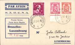 (Belgium) Sabena F/F Brussels to Luxembourg, bs 21/7, Souvenir card franked 1F80.