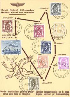 (Helicopter) Sabena F/F Belgian postal service by helicopter, round trip of nine stops fromTurnhout-Turnhout, souvenir card with  nine intermediate transit postmarks and stamps.
