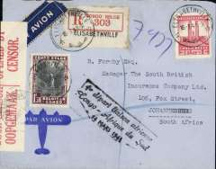"(Belgian Congo) WWII censored F/F Elisabethville to Johannesburg, bs 18/3, registered (label) cover franked 10F & 1F50, nice strike black framed ""1er depart laison aerienne/Congo-Afrique du Sud/14 Mars 1941"", sealed South Africa red/white OBC censor tape tied by South Africa arrival cds. Scarce item in fine condition."