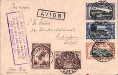 "(Belgian Congo) F/F Elisabethville to Brussels leg of the first connection between Elisabethville and France by Air Afrique, cover franked Congo 6F25, fine strike violet framed ""Premiere Laison Aerienne/Elisabethville-France/Par Avion Afrique/16 Novembre 1935""  cachet."
