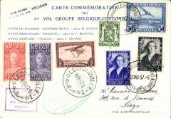 (Belgium) Pelican Missionary Flight Belgium-Congo, and return, Brussels to Leopoldville and return, 6/11, to Eghezee, commemorative 'Pelican' card in French with map of route verso, franked 3.30F Belgian and 3.30F Congo stamps, green and purple cachets.