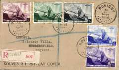 (Belgium) FDC 1938 Aeronautical set of five, registered (label) cover, canc Bovigny 15.3.1938.