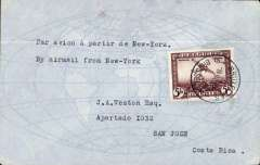 "(Belgium) Belgium to Costa Rica, Brussels to San Jose, bs 18/9, airmsil cover franked 5F, flown from New York to CR, typed ""By Airmail from New York""."
